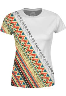 Camiseta Estampada Baby Look Over Fame Tribal Africana Branca