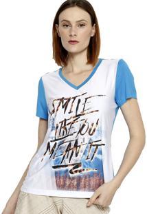 Lia Manga Curta Malha Energia Fashion Branco/Azul