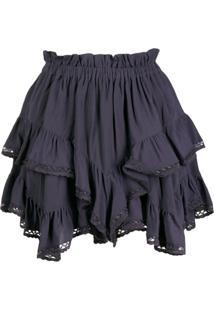 Isabel Marant Ruffle Layered Short Shorts - Azul