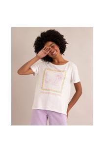 Camiseta Moletinho Coqueiros Manga Curta Decote Redondo Off White