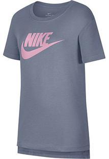 Camiseta Infantil Nike Tee Basic - Feminino-Cinza+Rosa
