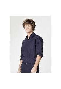 Camisa Hering Básica Mangas Longas Em Tecido Azul