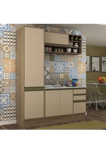 Cozinha Compacta 3 Peças 5 Portas Safira Siena Móveis Avelã Tx/Capuccino Tx