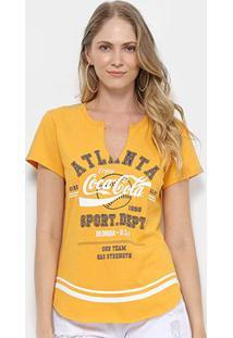 Camiseta Coca-Cola Aroma Feminina - Feminino-Amarelo