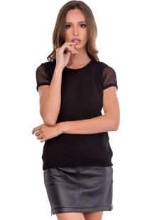 Camiseta Myah Madelaine Preta Com Tule