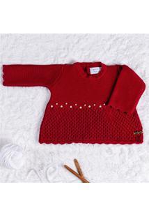 Vestido Bebê Tricot Vermelho Pérolas P Grão De Gente Vermelho