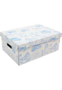 Caixa Organizadora Baby Desmontável - Azul & Branca Boxmania