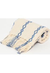 Manta Romana- Bege Azul Escuro- 140X150Cm- Artartesanal