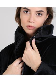 Jaqueta Feminina Puffer Cropped Com Brilho Preta