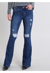 Calça Jeans Feminina Flare Com Rasgos Cintura Alta Azul Escuro