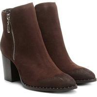 2db147883 Bota Couro Cano Curto Shoestock Salto Bloco Feminina - Feminino-Café