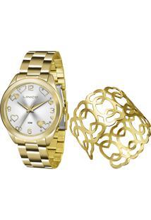 Kit Relógio Analógico Lince Feminino + Bracelete - Lrg4392L K196S2Kx Dourado