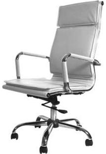 Cadeira Diretor Valencia Alta Branca Base Cromada 7029 - Sun House