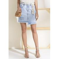 037f046a54 Dzarm Web Store. Saia Jeans Curta De Algodão Com Barra Diferenciada