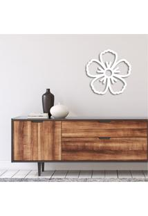 Escultura De Parede Em Mdf Flor Sofisticada Branco - Médio