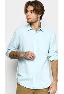 Camisa Linho Manga Longa Vr Blend Lisa Bolso Masculina - Masculino-Azul Claro