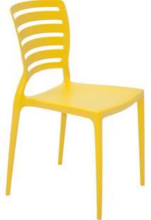 Cadeira Com Encosto Vazado Sofia Amarela