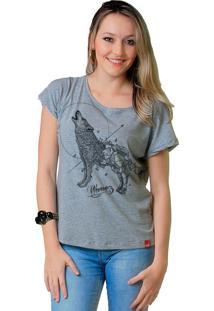 Camiseta Wevans Lobo Geometrico Cinza