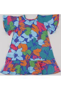 Vestido Infantil Salinas Estampado Floral Manga Curta Azul