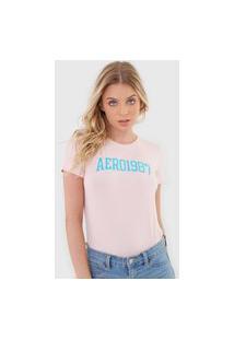 Camiseta Aeropostale Bordada Rosa