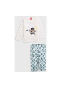 Pijama Tricae Curto Infantil Porco Espinho Off-White/Verde