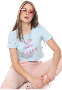 Camiseta Cropped Hurley Surf And Enjoy Azul