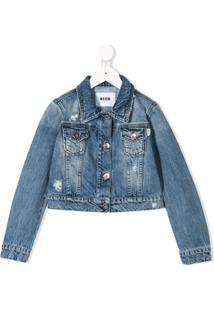 Msgm Kids Jaqueta Jeans - Azul