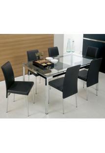 Conjunto Mesa 328 Vidro Incolor Cromada Com 6 Cadeiras 306 Preta Carraro