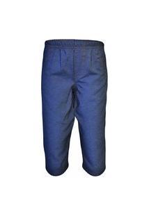 Calça Tecido Jeans Cós Elástico Azul 100% Algodão
