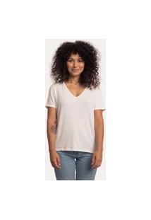 Camiseta Decote V Ampla Viscolinho Off White