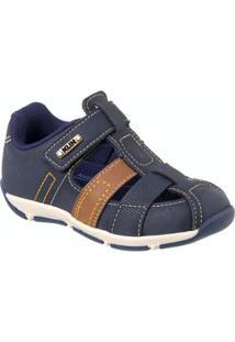 Sapato Infantil Outdoor Velcro Klin Masculino - Masculino-Azul Escuro