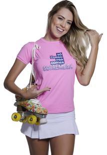 Camiseta Funfit Camiseta Feminina Corrida - So Corro Pra Comer Sobremesa Rosa
