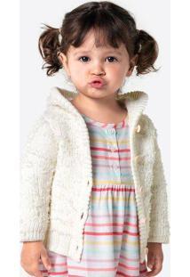 Casaco Bebê Menina Em Tricot E Detalhes Em Pelinhos Hering Kids
