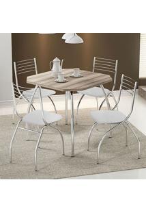 Conjunto Mesa 1504 Nogueira Cromada Com 4 Cadeiras 146 Branca Carraro