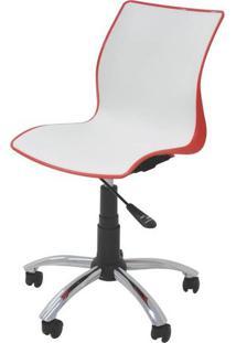 Cadeira Maja Com Rodizio Cor Vermelho Com Branco - 19607 - Sun House