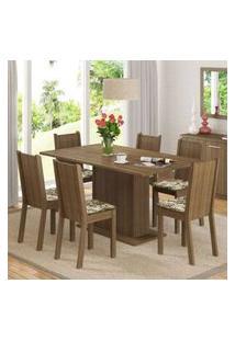 Conjunto Sala De Jantar Madesa Megan Mesa Tampo De Madeira Com 6 Cadeiras Rustic/Lírio Bege