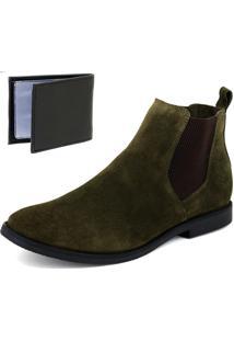 Bota Chelsea Boots Lisa Sir.W Couro Camurça Verde Musgo + Brinde Carteira Sintético