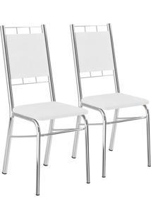 Kit 2 Cadeiras Napa Branco Cromado Móveis Carraro