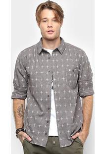 Camisa Cavalera Manga Longa Estampa Cruz Masculina - Masculino-Bege
