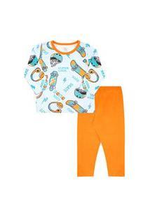 Pijama Infantil Masculino Meia Malha Camiseta Manga Longa Skate E Calça Laranja (4/6/8) - Kappes - Tamanho 8 - Azul,Laranja