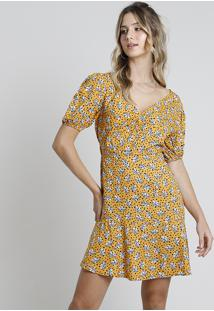 Vestido Feminino Bbb Curto Estampado Floral Com Poá Manga Bufante Mostarda