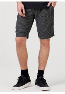 Bermuda Chino Slim Listrada Masculina - Masculino-Preto