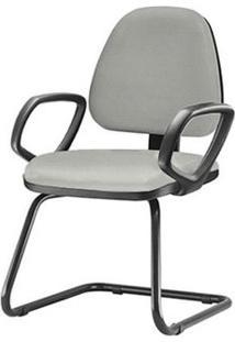Cadeira Sky Com Bracos Fixos Assento Courino Cinza Claro Base Fixa Preta - 54830 - Sun House