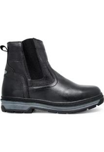 Botina Chelsea Couro Dia A Dia Trivalle Shoes Masculina - Masculino-Preto