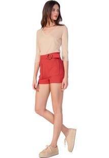 Shorts De Alfaiataria Com Bolso Frontal