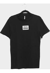 Camiseta Colcci Gola Fechada Feminina - Feminino-Preto