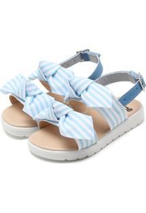 Sandália Tricae Por Just Lia Laço Listrado Azul