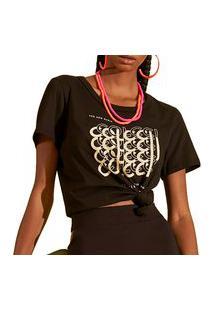 Camiseta Colcci Comfort Estampada Preto Feminino