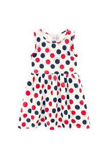 Vestido Infantil Abrange Bolas Natural Abrange Casual Off-White