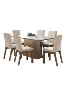 Conjunto Sala De Jantar Madesa Milena Mesa Tampo De Vidro Com 6 Cadeiras Rustic/Branco/Fendi Rustic